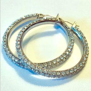 Jewelry - Rhinestone hoop earrings.